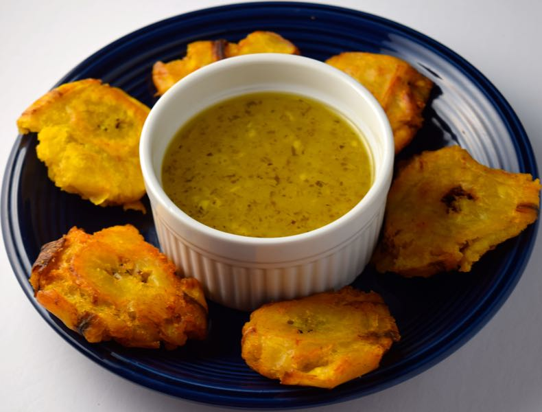 Tostones Fried Plantains With Mojo Garlic Sauce