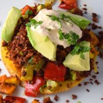 Vegetarian Tostada with Chipotle Cream