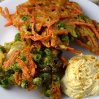 Indian Carrot Pea Pancake with Curry Yogurt Sauce