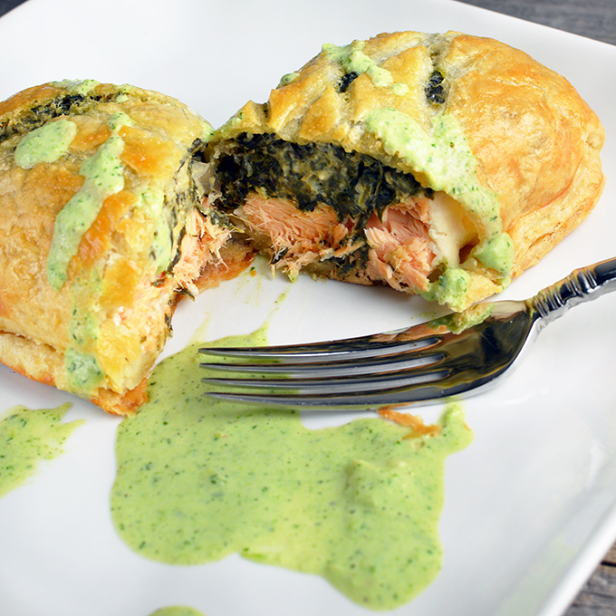Salmon Wellington With Creamy Herb Sauce