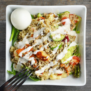 Mediterranean Quinoa Salad With Halloumi and Tahini Dressing